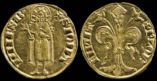 The florin of Florence, 3.5g of gold. Used all over Europe by 1300.