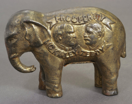 GOP elephant bank from the 1900 presidential campaign.  Susan H Douglas Collection of Political Americana, Cornell University Library.